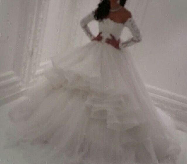 2016 Long Sleeve Ball Gown Wedding Dresses Lace High And Low Bridal Gown Vestido De Noiva