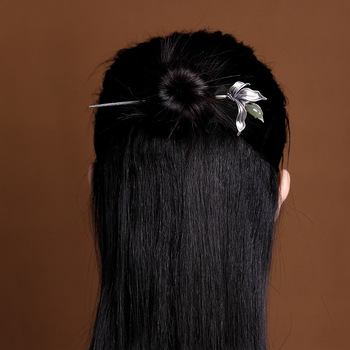 MIQIAO Traditional Chinese Accessories For Women Jewelry Green Jade Orchid 925 Silver Hair Stick Fashion 925 Silver Flower Hanfu
