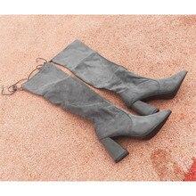 women knee high thick heel womens shoes Overknee Square Woman Flat Bottom Elastic Long boots