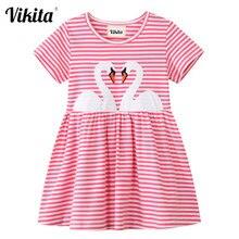 VIKITA kızlar pamuklu elbiseler çocuklar çizgili Vestidos çocuk karikatür nakış günlük okul elbise kız yaz kısa kollu elbise