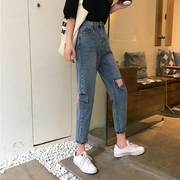 Photo Shoot 2019 WOMEN'S Dress Summer Cool Cut Loose Straight Slimming Jeans Capri Pants Women's