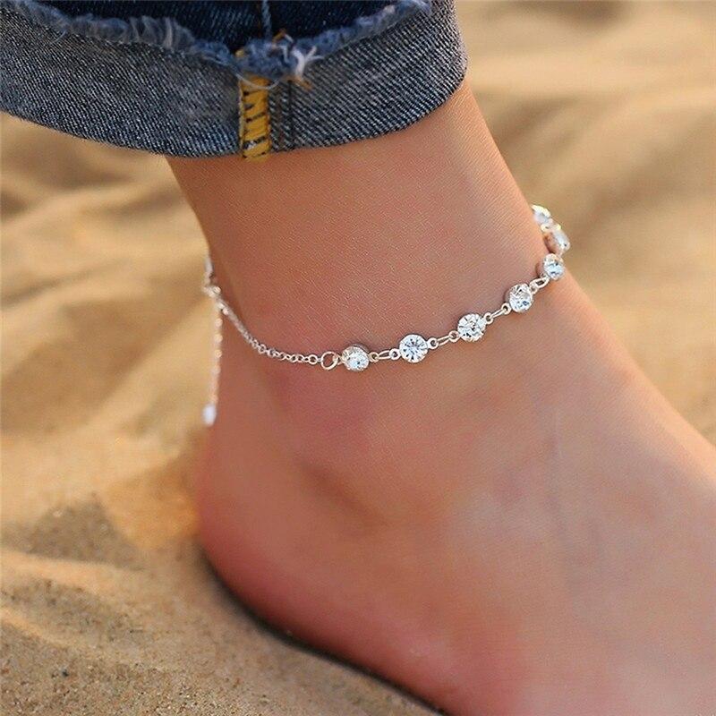 Fashion Crystal Anklets For Women Gold Silver Color Boho Anklet Strap Bracelet On The Leg Foot Bracelets Bohemian Jewelry