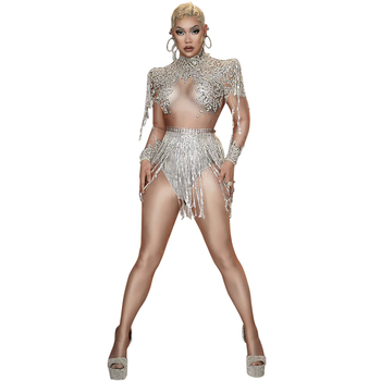 Sexy Club Singer Performance Stage Wear Sparkly Rhinestones Sequins Tassel Bodysuit Fringe Dance Costume Birthday Party Outfits sparkly gold tassel bodysuit rhinestones outfit glisten beads costume one piece dance wear singer stage leotard headdress