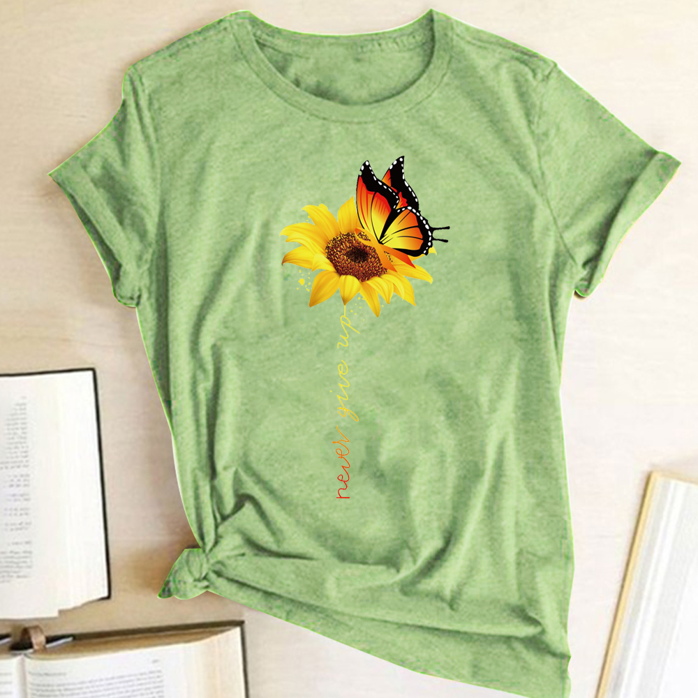Aesthetic Cotton T Shirt Women Harajuku Graphic Tees Shirt Femme Sun Flower Butterfly White Women's T-shirt Never Give Up Tshirt