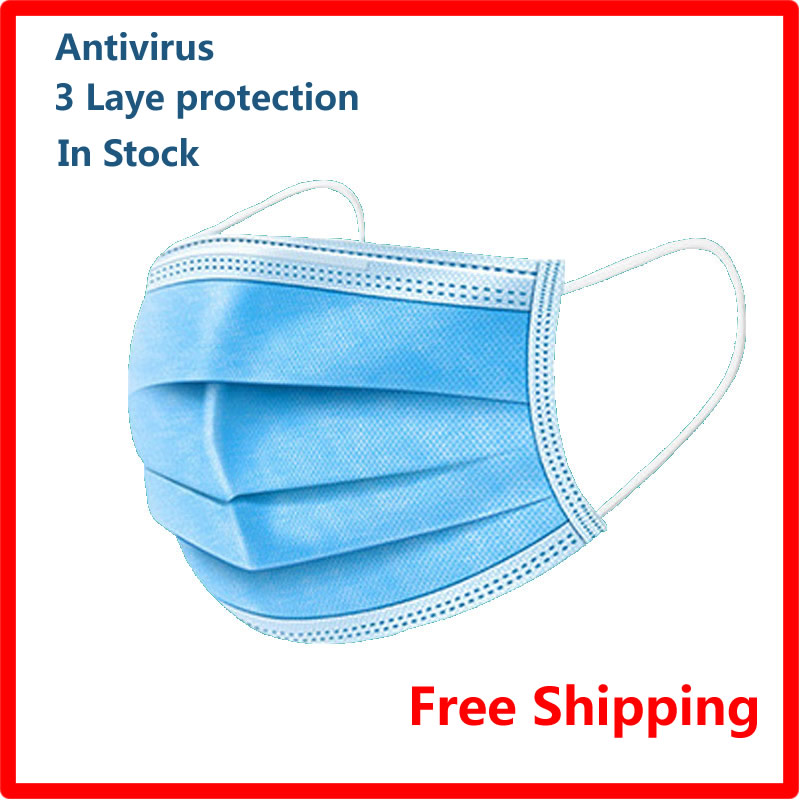 Free Shipping Adult Disposable 3-layer Filtration Antiviral Flu Bacteria Proof Masks 50pieces/bag