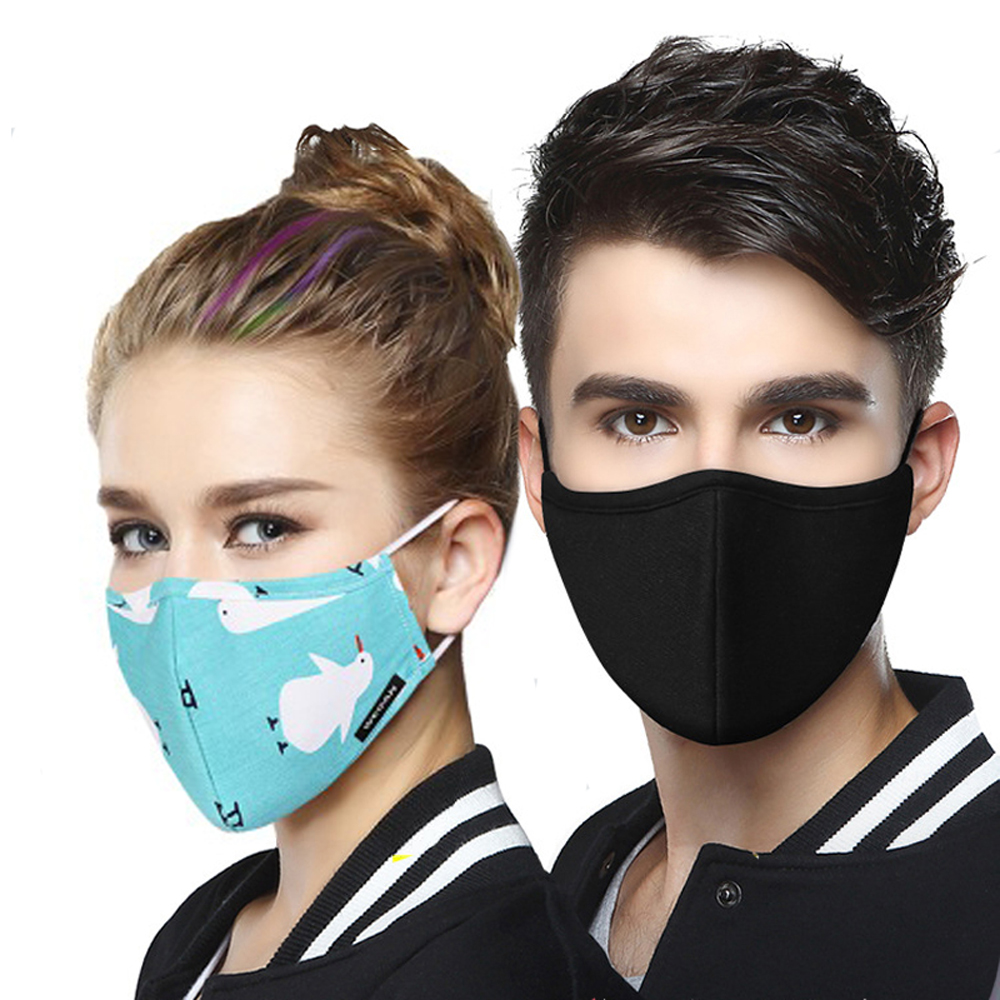 Reusable Cotton PM2.5 Anti Haze Mask Anti Dust Mouth Mask Activated Carbon Filter Mouth-muffle Fabric Face Mask With 2pcs Filter