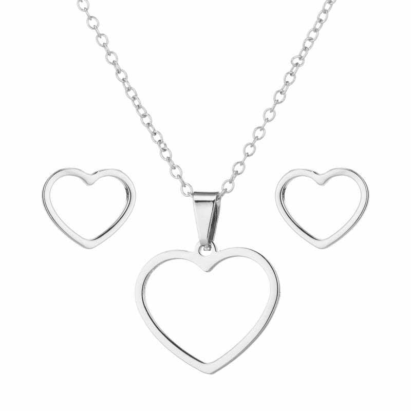 FENGLI แฟชั่นสแตนเลสสตีลหัวใจจี้สร้อยคอผู้หญิงทุกวันชุดเครื่องประดับ Heartbeat Beat ต่างหูสตั๊ด brincos