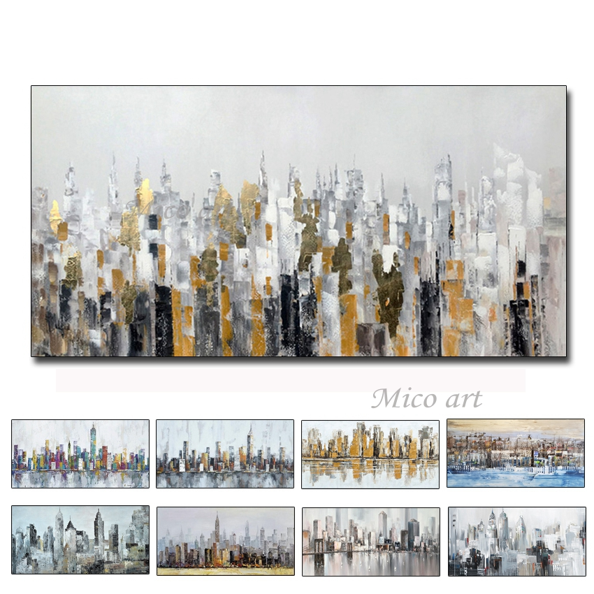 City Building 100% Hand Painted Oil Paintings on Canvas Abstract Painting Wall Picture for Living Room Home Decor Art No Framed