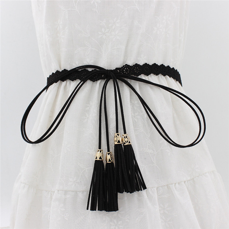 New Ladies Belts Fashion National Style Hollow Tassel Tie Strap Waist Chain Women's Waistband Dress Accessories