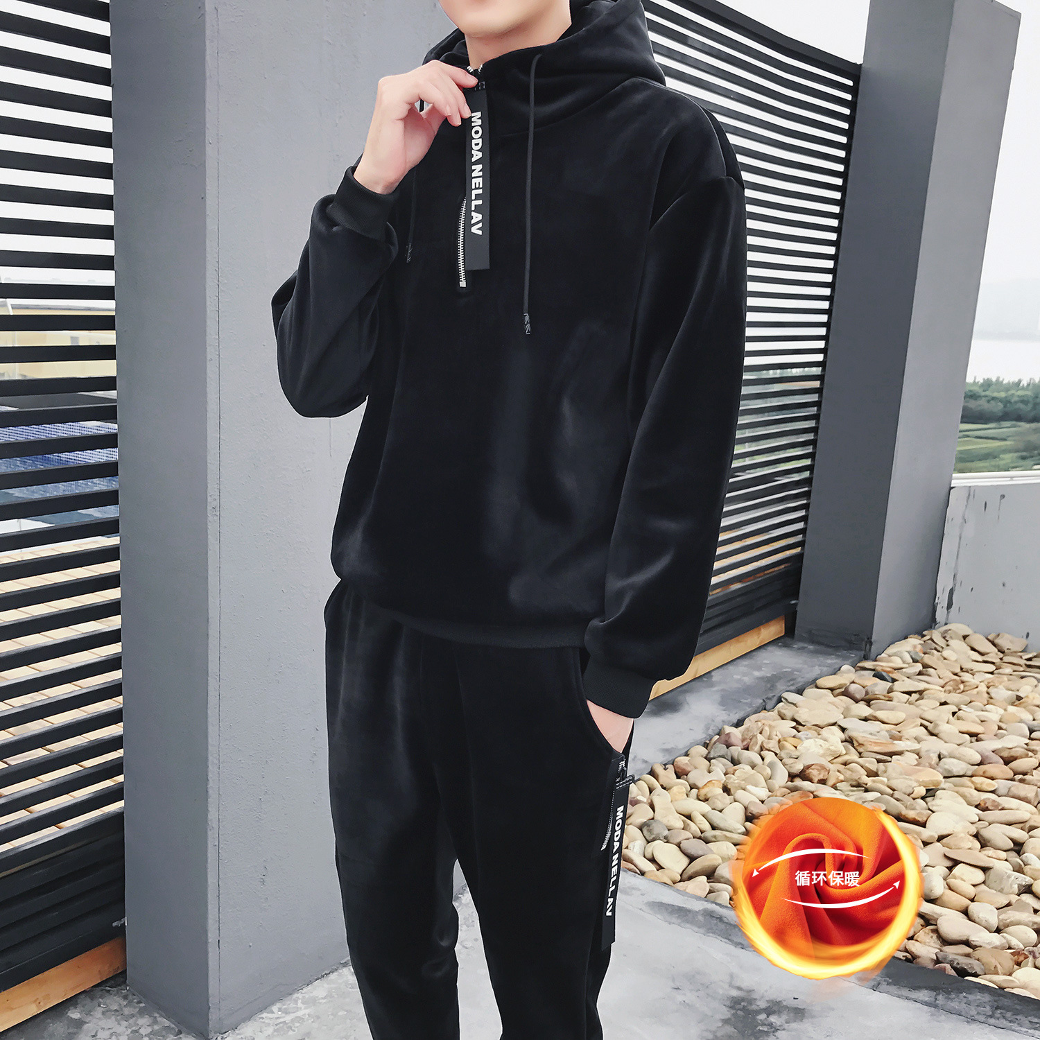Gold Velvet Leisure Sports Suit Men Brushed And Thick Hoodie Teenager Winter Coat Double-sided Plush Two-Piece Set