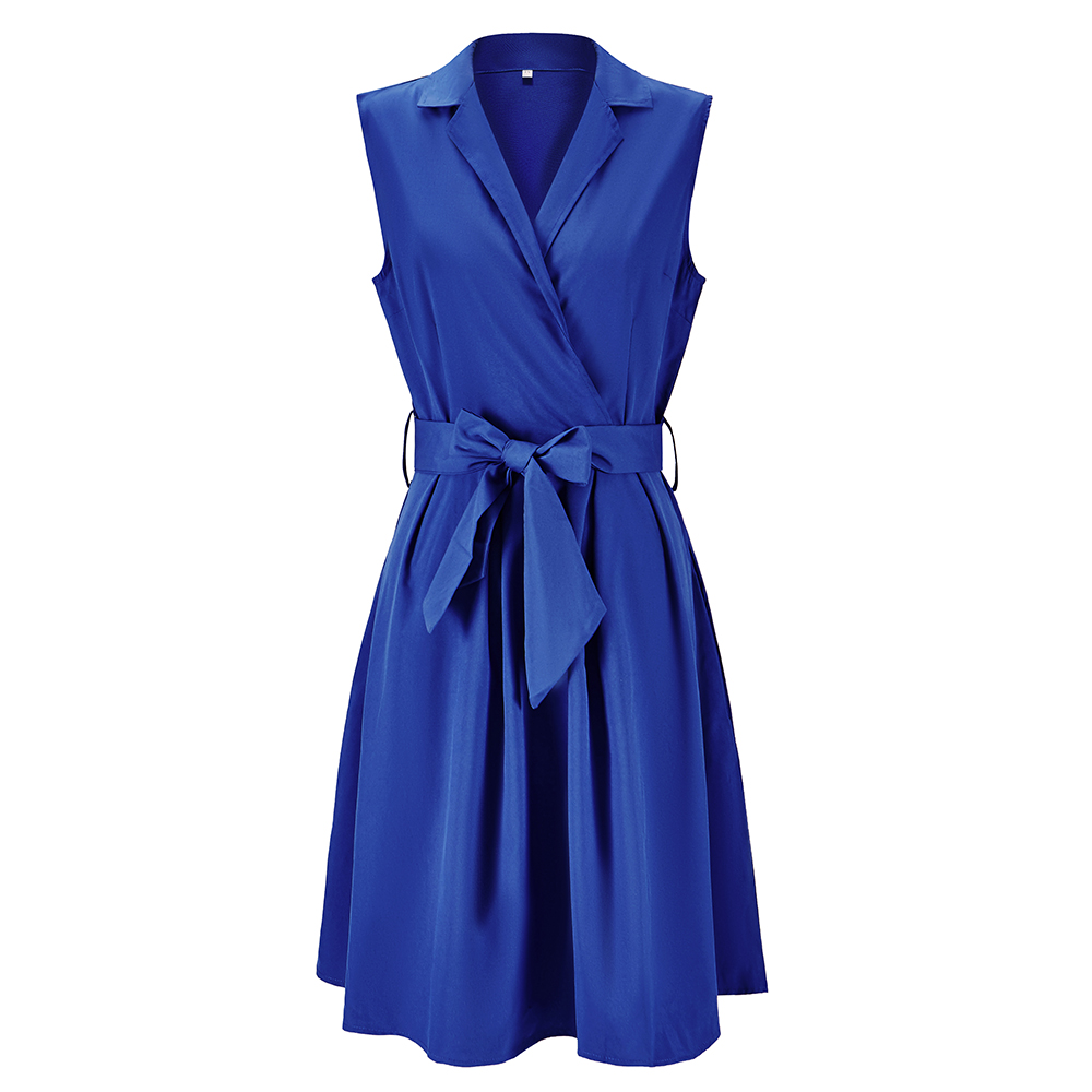 Women Dresses Sleeveless Notched Solid Navy Blue With Bow Sashes Summer A-line Beach Maxi Dress Plus Size 5XL 4XL Party Vestidos(China)