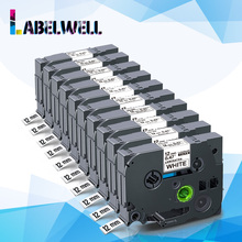 Labelwell Cinta tze 231 laminada Compatible con impresora Brother p touch, tze 231, tz231, tze231, 12mm, tz 231 en blanco y negro, 10 Uds.