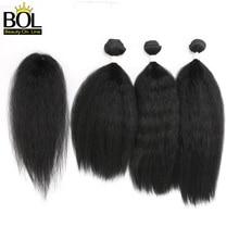 Кудрявые прямые волосы пряди с закрытием Синтетические пряди для наращивания волос для Для женщин натуральные черные волосы 4 шт./упак. 16-20 дюймов углеродного волокна