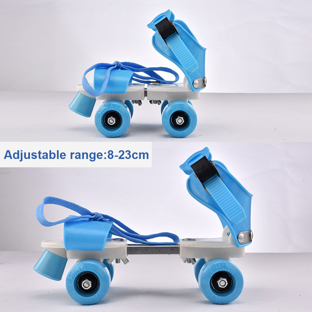 Girl Boy ABS Four Wheel Roller Adjustable Non Slip Wear Resistant Fixed Portable Children Double Row Outdoor Kids Skate Shoes