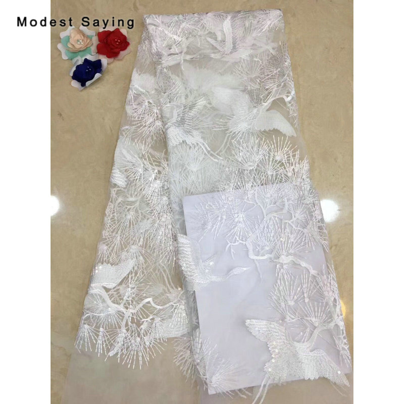 2 Yards Ivory Crane Shaped Sequined Lace Fabrics For Evening Dress 2019 New ArrivalEmbroidered Mesh Party Prom Net Lace Material