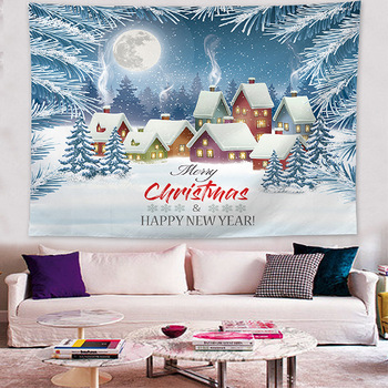 Jayi Snow Man Christmas Tree Series Wall Tapestry Large Size Wall Printing Home Tapestry Wall Hanging Christmas Decoration 327GT