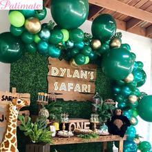PATIMATE Latex Balloon Green Balloons Woodland Animal Palm Leaf Foil Safari Tropical Party Baloons Birthday Decor