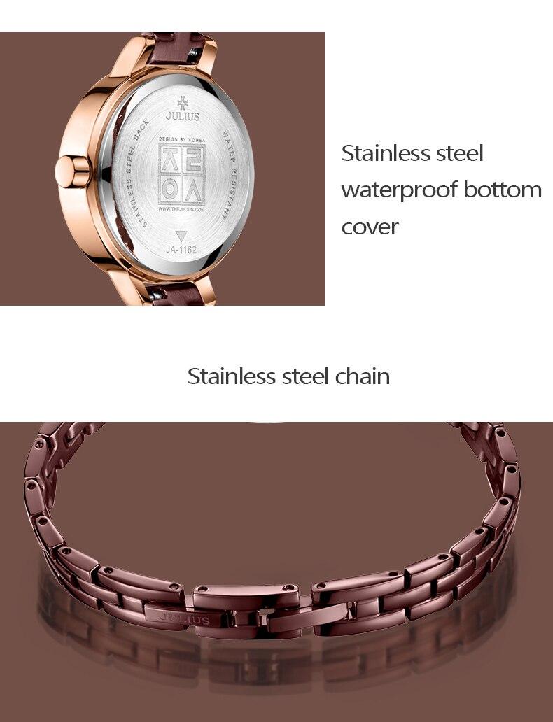 Julius marca feminina pulseira de aço inoxidável