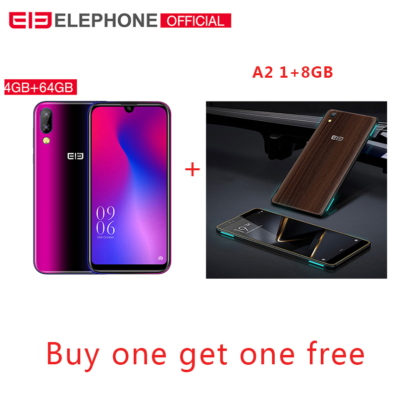 Elephone A6 Mini 5.71 ''écran goutte d'eau téléphone portable Android 9.0 MT6761 Quad Core HD + 4GB 32 GB/64 GB 16MP 4G LTE Smartphone