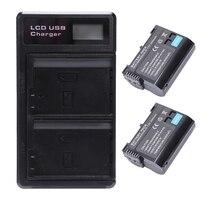2 pces En El15 bateria e lcd carregador usb de bateria dupla para z6  z7  d850  d810  d810a  d800  d800e  d7500  d7200  d7100 null     -