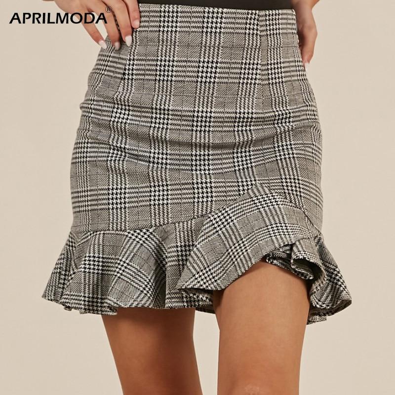Женская юбка-карандаш в стиле Лолиты, облегающая, Harajuku, утолщенная шерстяная клетчатая ретро юбка, винтажная Нижняя юбка, японские юбки Kawaii