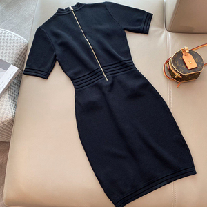 Image 2 - Designer Dress for Lady High Quality Luxury Short Sleeve Dress for Women V Neck Mid Calf Viscose Dress for Lady 2020 Summer