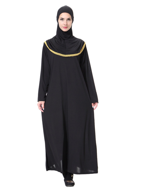 Women Prayer Garment Hijab Dress Robes With Turban Caps Bat   Black Kaftan One-Piece Arab Dubai Abaya Islamic Muslim Clothing