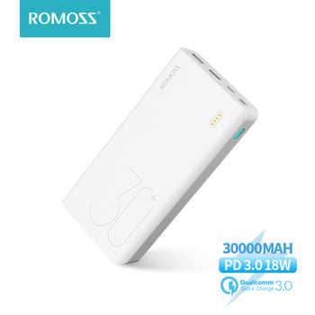 30000mah romoss sense 8 + power bank bateria externa portátil com pd em dois sentidos carregamento rápido portátil powerbank carregador para telefone