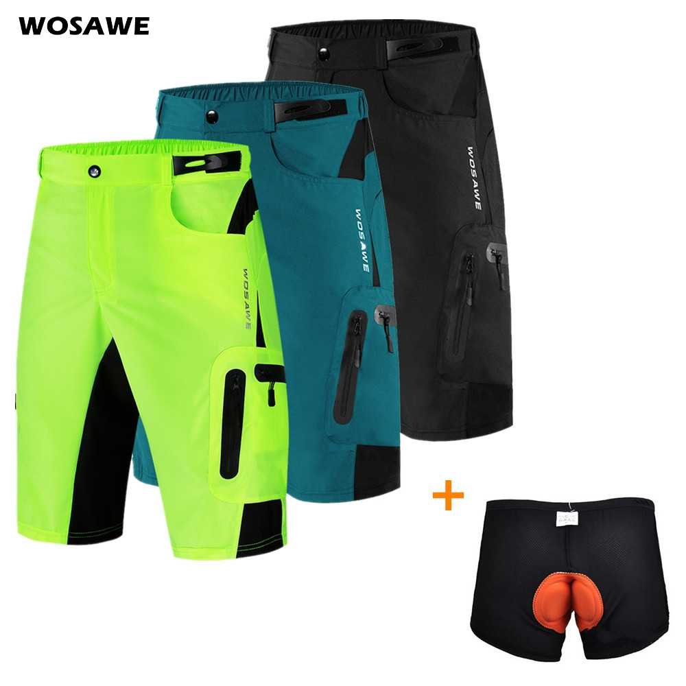 Men Padded Baggy Cycling Shorts Reflective MTB Mountain Bike Bicycle Trousers
