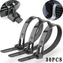 30 pces retrátil laço de cabo de náilon, auto-travamento reutilizável plástico fixo laço de cabo de náilon preto, embalagem de laço de cabo de zíper plástico