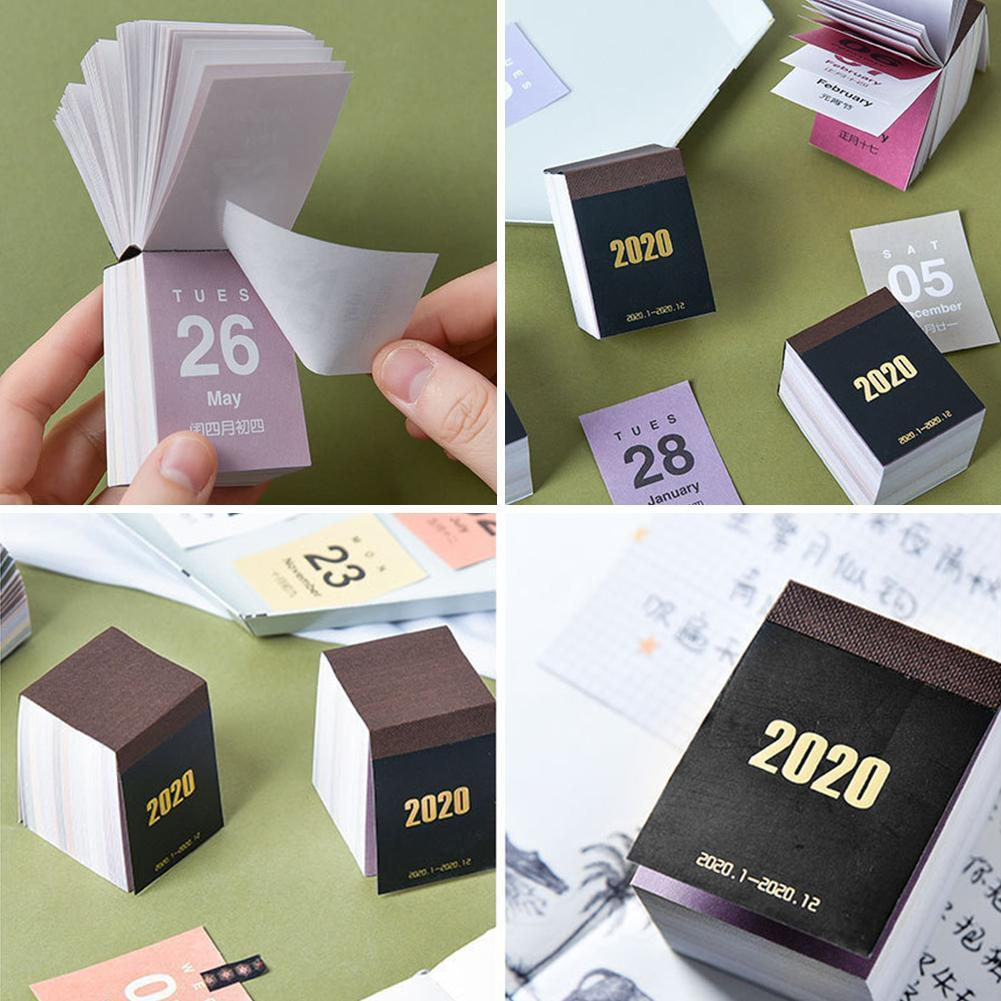 2020 Mini Calendar Self-adhesive Desktop Sticker Schedule Planner 5*4*4cm Articulos De Oficina Y Papeleria Office Supplies
