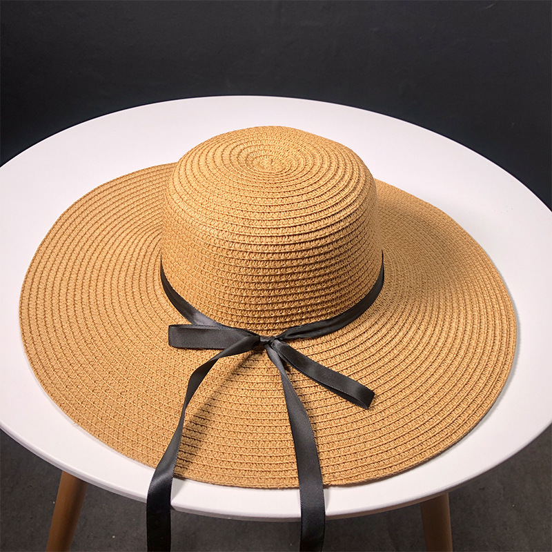 New Product Straw Hats Ma'am Leisure Go On A Journey Bow Straw Hat Outdoors On Vacation Sunscreen Will Eaves Sun Hat