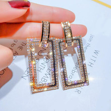 2 Pcs/set Women Earrings Fashion Gold Silver Geometric Crystal Stud Earrings Party Wedding Charm Jewelry Accessories Lover Gifts(China)