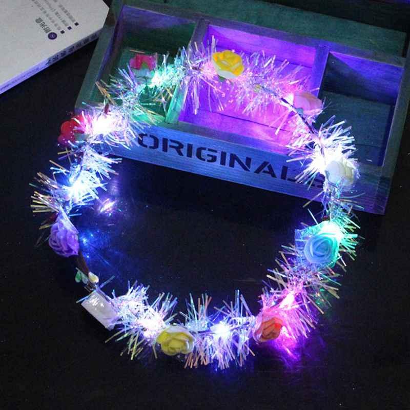 Kobiety dzieci LED Light Up Flower Crown brokat odblaskowy świecidełko wieniec pałąk Luminous nakrycia głowy na świąteczne przyjęcie świąteczne