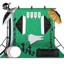 Fotografie Softbox Verlichting Kit Met 2.6X3M Achtergrond Stand 3Pcs Foto Backdrops Statief Stand Paraplu Voor Photo studio