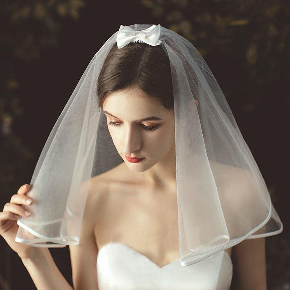 Korean Style Bow Wedding Veil Short Tulle Ribbon Edge Bridal Veils Two Layer Ivory White Shoulder Length Bride Veils