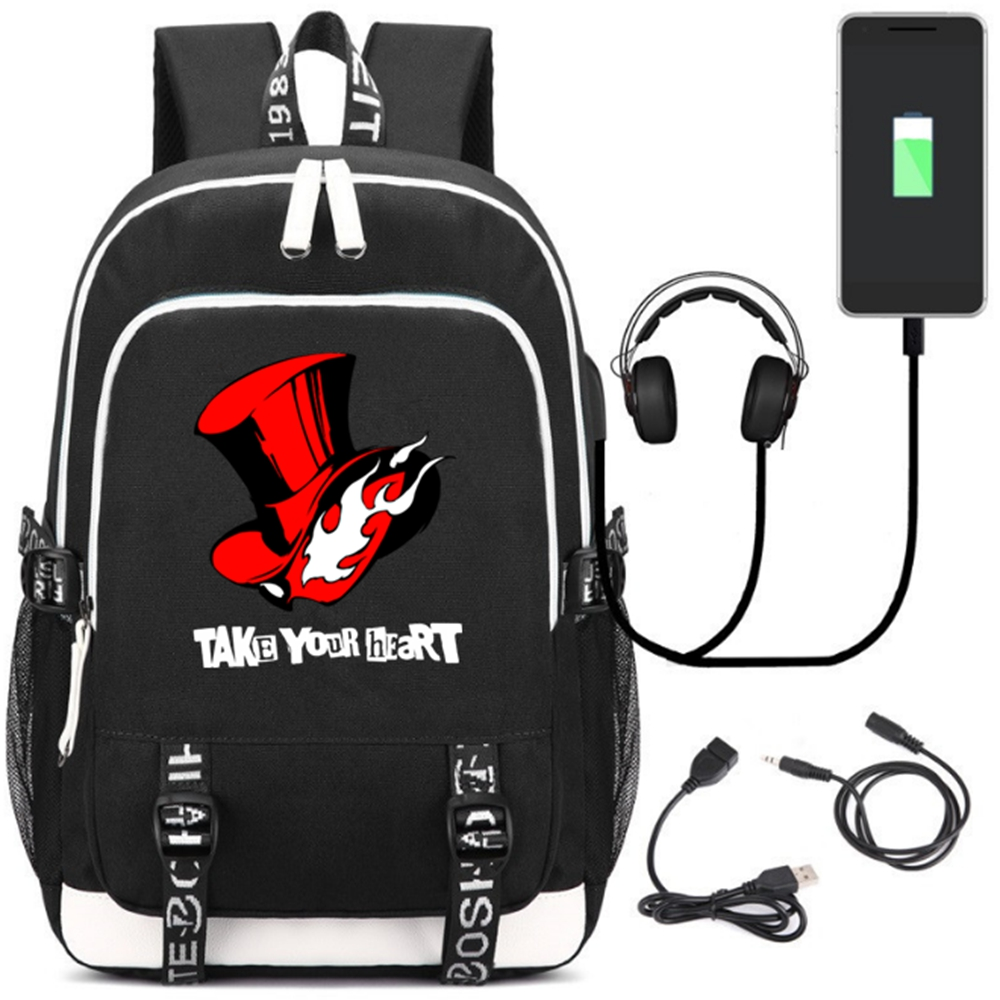 Shin Megami Tensei <font><b>Persona</b></font> <font><b>5</b></font> Teenagers USB charging laptop large <font><b>Backpack</b></font> Canvas School Bags Mochila Travel Bags shoulder bag image