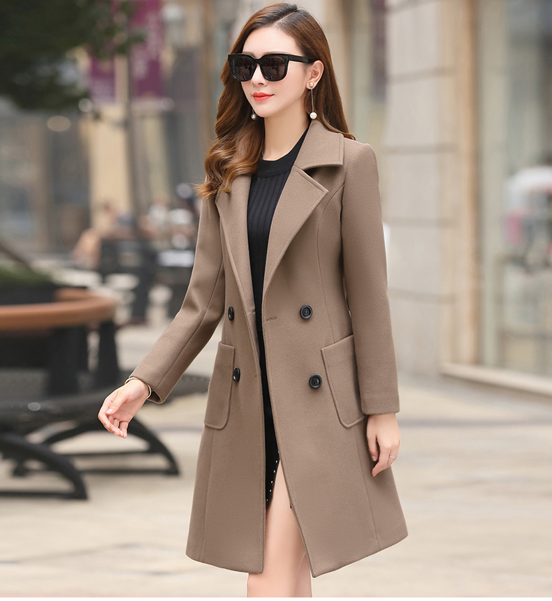 Woolen Women Jacket Coat Long Slim Blend Outerwear 2019 New Autumn Winter Wear Overcoat Female Ladies Wool Coats Jacket Clothes 12