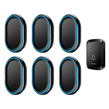 CACAZI Wireless Doorbell Waterproof 300M Remote LED Light 1 Button 6 Receivers Home Smart Calling Bell US EU UK AU Plug Chime