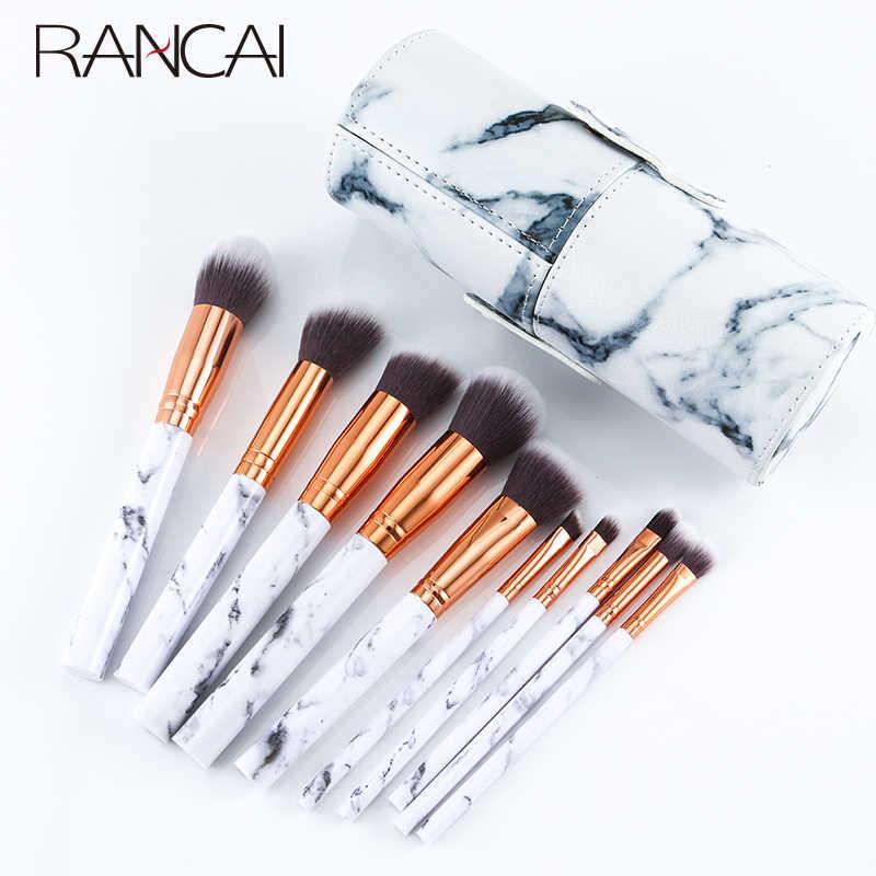 Profesjonalne 10 sztuk zestaw pędzli do makijażu marmuru miękkie fundacja Powder pędzel do cieni do powiek piękno marmuru narzędzia do makijazu z cylindrem
