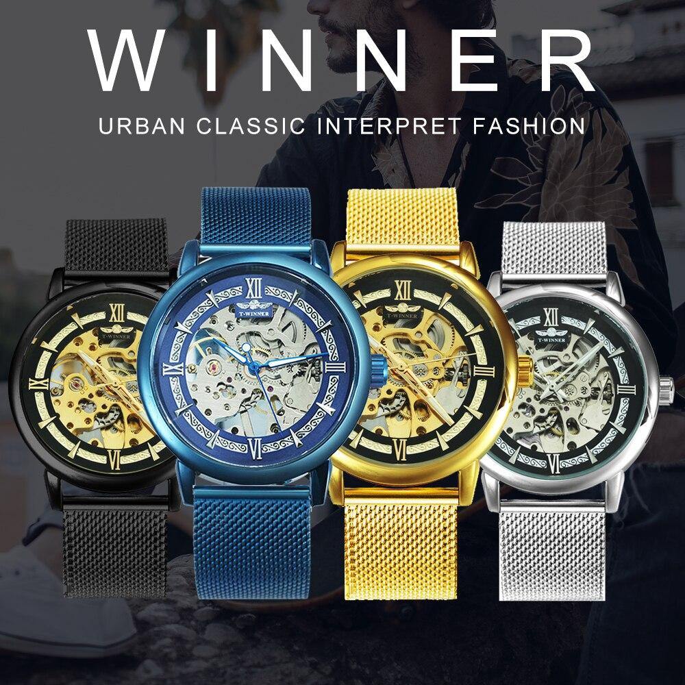 H9749e88aab294eca9a8552d70e80959c0 WINNER Official Fashion Casual Men Mechanical Watch Blue Mesh Strap Ultra Thin Skeleton Mens Watches Top Brand Luxury Clock 2019