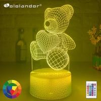 Oso de luz de noche para decoración del hogar, lámpara de mesita de noche de ilusión 3d con Interruptor táctil Led de corazón, ambiente colorido