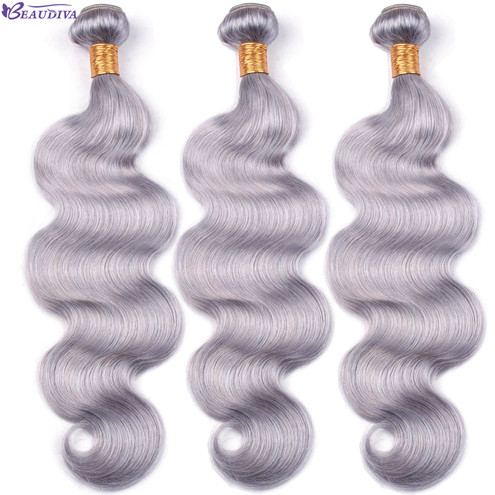 LUXEDIVA Grey Color Human Hair Bundles Brazilian Body Wave Human Hair Bundles Remy Human Hair Bundles Extensions Grey Hair Weave