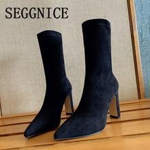 Женские ботильоны на высоком каблуке; Пикантные ботильоны из флока с острым носком; Женские пикантные вечерние зимние модные женские туфли; Большие размеры