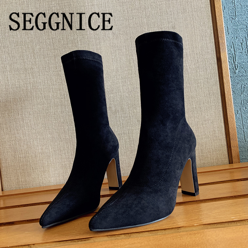 Women High Heel Sock Boots Plus Size Sexy Flock Pointed Toe Ankle Booties Female Sexy Party Winter Woman Fashion Shoes BootsAnkle Boots   -