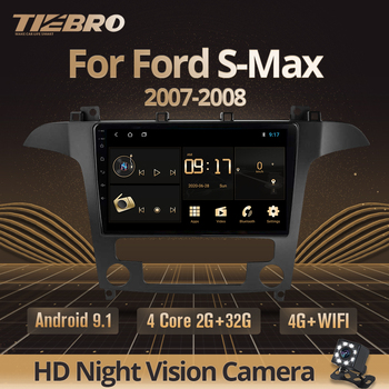 TIEBRO 2DIN Android 9.0 Car Radio Auto Stereo Multimedia For Ford S-Max Ford S Max 2007 2008 GPS Navi Navigation Car DVD Player автомобильный dvd плеер isudar 2 din 7 dvd ford mondeo s max focus 2 2008 2011 3g gps bt tv 1080p ipod