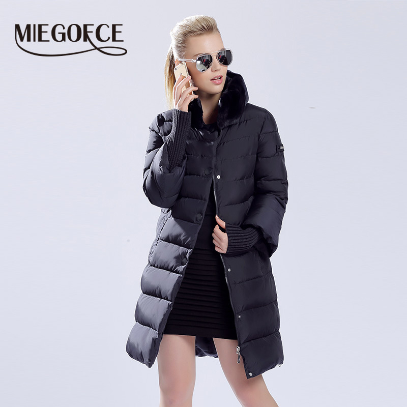 MIEGOFCE 2019 Winter Duck Down Jacket Women Long Coat Warm Parkas Thick Female Warm Clothes Rabbit Fur Collar High Quality