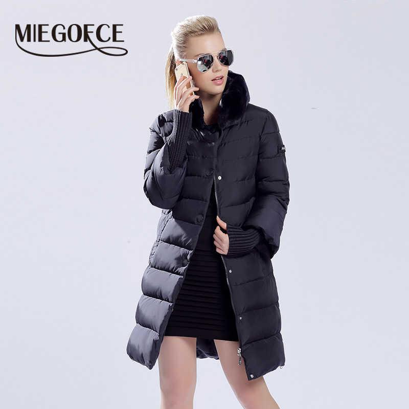 Miegofce 2019 Winter Eend Donsjack Vrouwen Lange Jas Warme Parka Dikke Vrouwelijke Warme Kleding Konijn Bontkraag Hoge Kwaliteit
