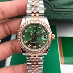 Новые сапфировые часы из нержавеющей стали для женщин, дамские автоматические механические часы с бриллиантовым ободком, Серебряная роза, ...