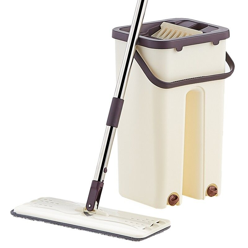 Hand Free Wringing Flat Squeeze Mop and Bucket Wet Dry Magic Cleaning Home Kitchen Floor Lazy Mop With Microfiber Pads Mops     - title=